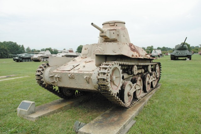 The Chu Sensha, Type 94 is a Japanese tank that held a 3-man crew with a 37 mm main gun and two 7.7 mm submachine guns. The one at the U.S. Army Ordnance Museum at Aberdeen Proving Ground was captured on Attu in the Aleutian Islands during World War II.