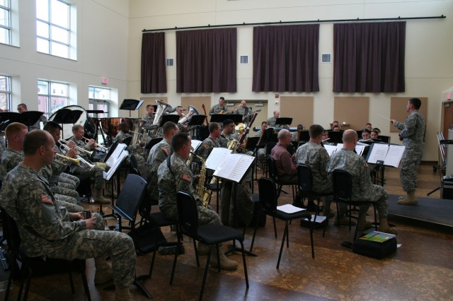FORT CARSON, Colo.-The 4th Infantry Division's Ivy Band practices in their new, sustainable training facility.
