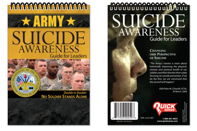 The Army's new pocket-sized Suicide Awareness Guide for leaders is now available at installation Training and Audiovisual Support Centers.
