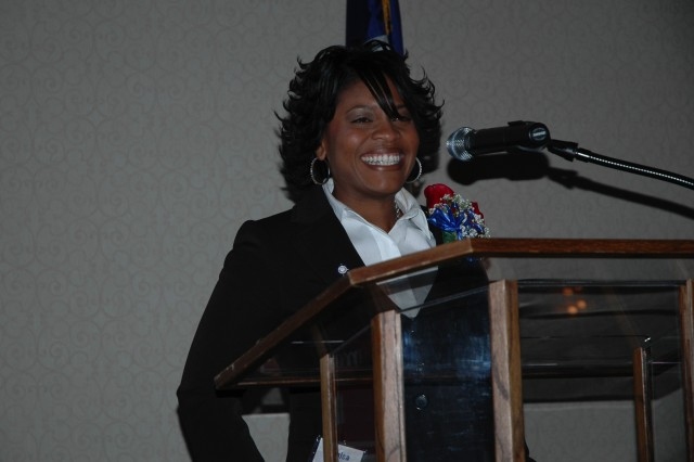 Yushica Walker, wife of Army Maj. Johnnie R. Walker of the TRAC WF (Training and Doctrine Command Analysis Center, White Sands Missile Range, Forward) thanks the audience at a special luncheon in Austin, Texas, just after she learned she had been selected as the Secondary Teacher of the Year for the entire state of Texas.