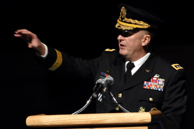 Lt. Gen. Rick Lynch, Assistant Chief of Staff for Installation Management and commanding general of Installation Management Command, speaks at the IMCOM change of command ceremony Nov. 1.
