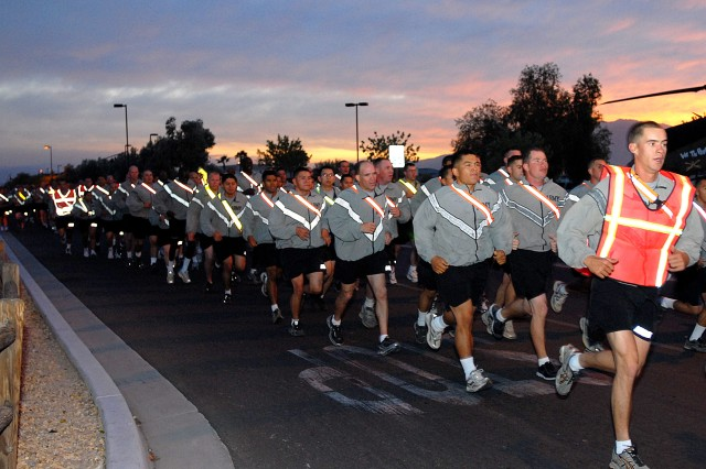 Noncommissioned officers participate during an Oct. 27 morning NCO run that was led by Fort Irwin and National Training Center Command Sgt. Maj. Victor Martinez. The jog kicked off a day of NCO professional development that culminated with a visit by Sgt. Maj. of the Army Kenneth O. Preston.