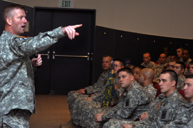 """Sgt. Maj. of the Army Kenneth O. Preston met with Soldiers in Bamberg on Nov. 5 to thank them for their military service and their continued effort to be consummate professionals."""""""