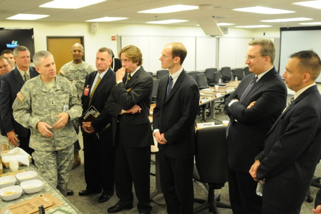 Maj. Gen. Kevin Leonard, AMC\'s Deputy Chief of Staff for Operations and Logistics, spoke with Congressional staffers from the Utah delegation during their visit to AMC headquarters Nov. 6. Photo by Wayne Scanlon.