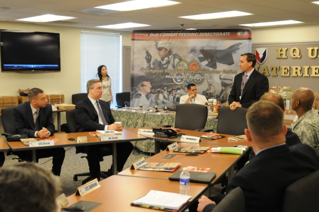 William Marriott, AMC's Deputy Chief of Staff for Personnel, provides an overview brief on AMC to Congressional staffers from the Utah delegation, who visited AMC headquarters Nov. 6. Photo by Wayne Scanlon.