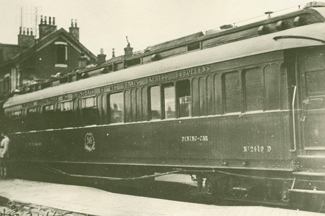 Marshal Foch's Train.  Caption:  This train car was used to hold negotiations with the Germans and where the armistice was signed at 5 a.m., on Nov. 11, 1918. (WWI Signal Corps Collection).