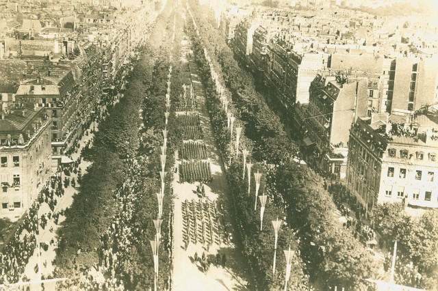 Victory Parade in Paris.  Victory Parade held in Paris, France on July 14, 1919. (WWI Signal Corps Collection).