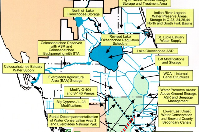 This map shows the projects that together make up the Everglades Comprehensive Restoration Plan.