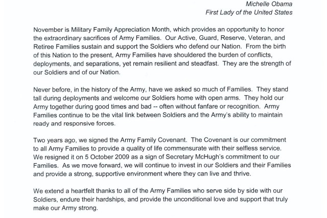 Military Family Month Senior Army leader message