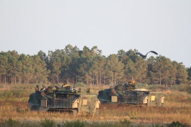 A Marine Corps amphibious assault vehicle helps assess CID technologies during Bold Quest 09 at Camp Lejeune, N.C.