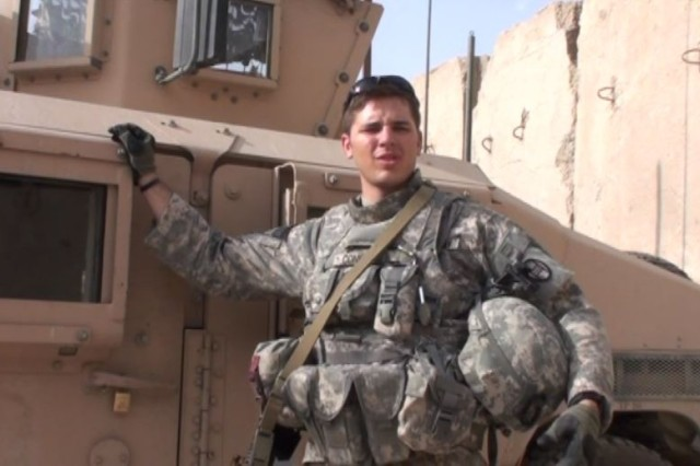 "Now-Sgt. Ryan Conklin poses with his HUMVEE ""Jessica"" in Iraq. MTV followed the former ""Real World: Brooklyn"" castmate during his recall to Iraq in ""Return to Duty."" The show will air Nov. 11 at 9 p.m. Eastern Standard Time."