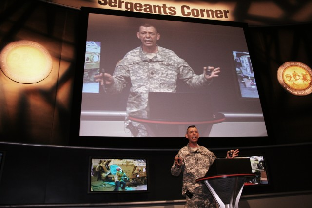 "Command Sgt. Maj. Stephen D. Blake, command sergeant major of the Army Sustainment Command, gives a passionate class on the ""AMC Reset Mission"" at the Association of the United States Army\'s annual gathering in Washington, D.C.'s Walter E. Washington Convention Center Oct. 5."