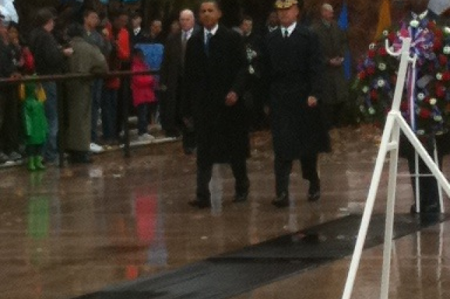 Brig. Gen. Karl Horst escorts President Obama for Veterans Day at Arlington National Cemetery