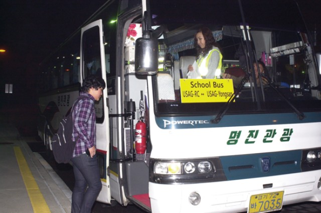 Students board free bus to DoDEA schools in Yongsan for first time in Area I