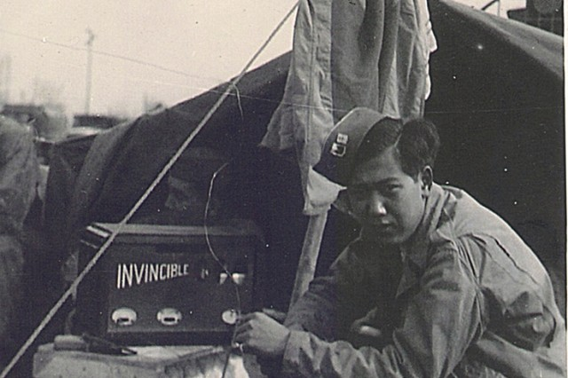 World War II Veteran Pfc. Noel Yuzuro Okamoto, served with the 442nd RCT, 232 Combat Engineer Company, from Leghorn, Italy to Bruyeres, France.