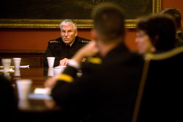 Army Chief of Staff Gen. George W. Casey Jr. talks with military Senior Service College students at Harvard University in Cambridge, Mass., Nov. 11, 2009. The program provides a unique opportunity to gain perspectives on public policy and management through interaction across agency and executive-legislative branch boundaries.