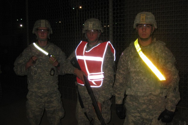 Left to Right, PFC Banville, PFC West, and CPL Coone stand glowing and ready to handle any mischief at TIFRC Services.