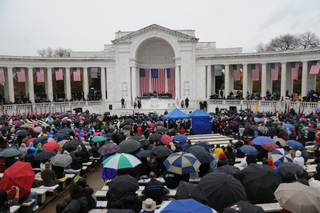 President Barack Obama delivers his remarks to the audience in the Memorial Amphitheater during the Annual National Veterans Day Observance, Wednesday, at Arlington National Cemetery.