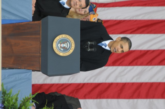 President Barack Obama delivers his remarks during the Annual National Veterans Day Observance, Wednesday, at Arlington National Cemetery.
