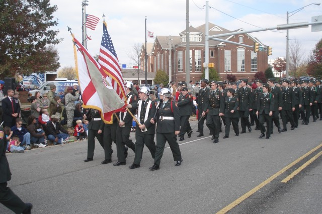 Junior Reserve Officers Training Corps units, like this one, also participated as a marching unit during this year's North Alabama Veterans Day Parade Nov. 11 in downtown Huntsville.