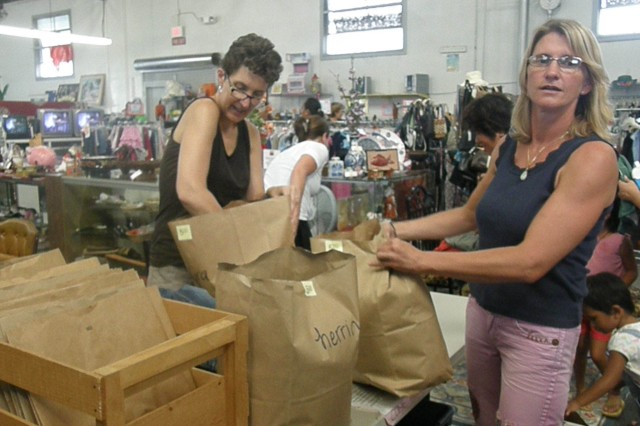 Shoppers save at thrift shop bag sale