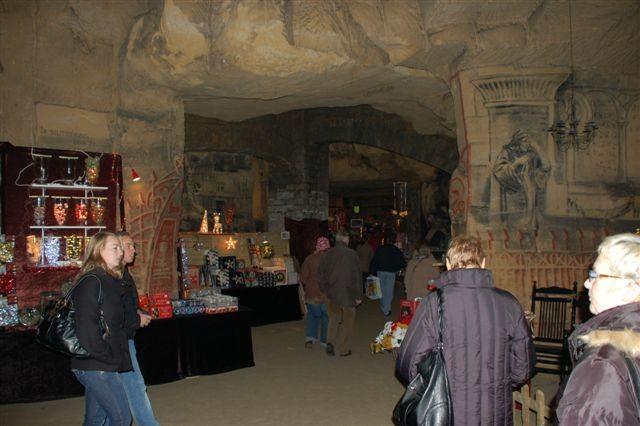 Discover holiday shopping inside caves at the Kerstmarkt in Valkenburg, Netherlands.