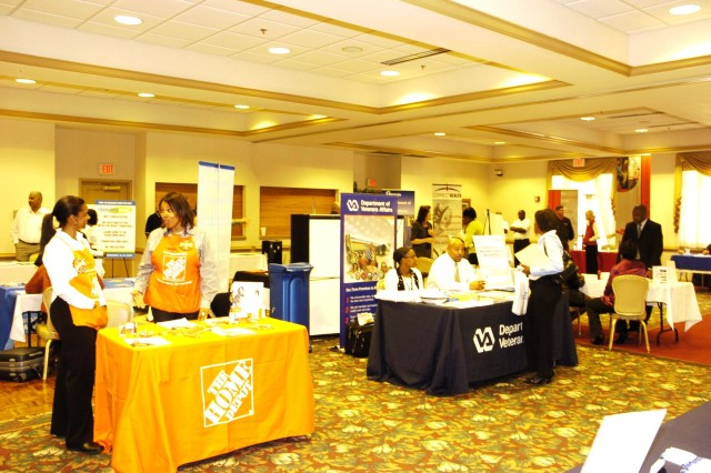 Employers set up displays in an attempt to garner interest in their companies. The free event helped those looking for new opportunities in the workforce meet prospective employers.