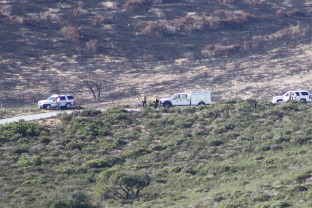 Multi-jurisdictional command and control personnel monitor the progress of the prescribed burn at the former Fort Ord firing ranges.
