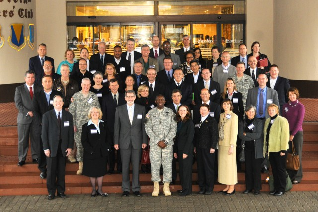 RAMSTEIN AIR BASE, Germany - Gen. William E. Ward, commander of U.S. Africa Command (middle) and Ambassador Tony Holmes, deputy to the commander for civil military activities (on Ward's right), pose with representatives from U.S. embassies in Africa attending the Theater Security Cooperation Conference, November 16, 2009. During the conference, participants will review U.S. Africa Command's fiscal year 2010 security cooperation activities, highlight the component commands' unique roles, and build potential activities for fiscal years 2011 and 2012.