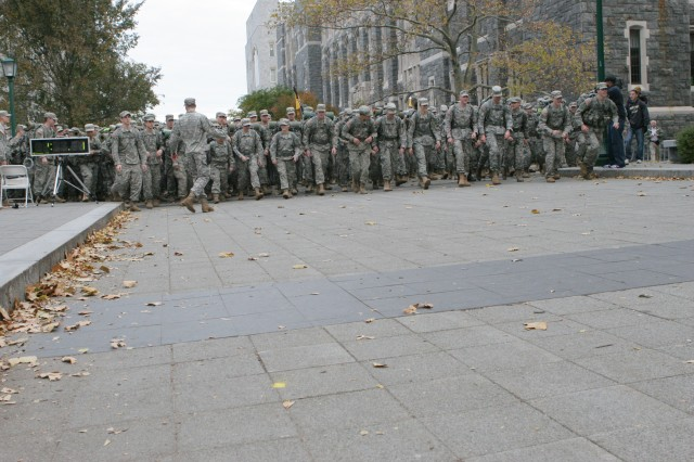 On Nov. 11, 1,030 West Point cadets, staff and faculty stepped off at approximately 7:30 a.m., for a 12-mile ruck march to raise money for the Combined Federal Campaign. Their efforts raised more than $14,000.