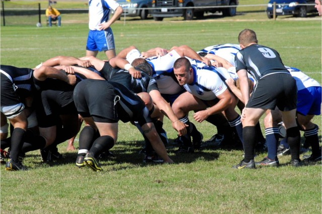 Army and Air Force players lock up in a scrum to gain possession of the ball during the Armed Forces Rugby Championship final Nov. 13 at Fort Benning, Ga. Air Force captured its sixth straight title with a 34-0 victory.