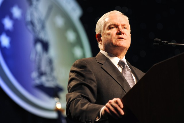 Defense Secretary Robert M. Gates speaks to nearly 2,400 participants in the first National Guard Joint Senior Leadership Conference in Washington, D.C., Nov. 19, 2009.
