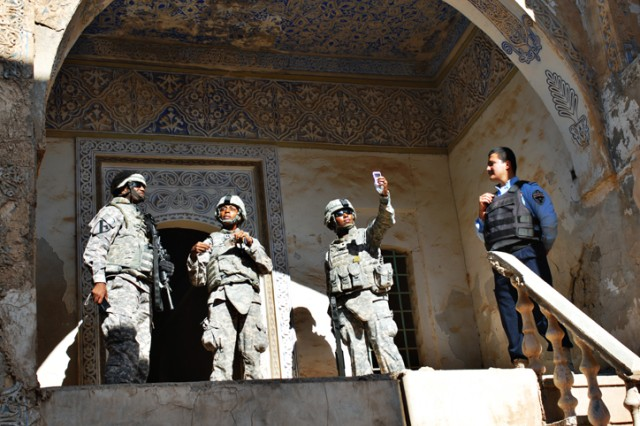 Soldiers look around in an ancient house in the Citadel of Kirkuk, Nov. 16.