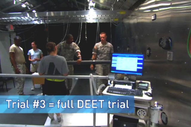 Robert Kenefick, PhD, and other research physiologists at USAG Natick with NSSC run a series of tests on Soldiers to study the affects of DEET on sweating.