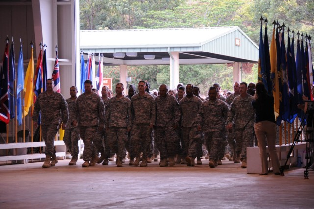 Soldiers from the 84th Engineer Battalion, 130th Engineer Brigade march into the redeployment facility Nov. 2 at Wheeler Army Airfield, Hawaii. The Soldiers have returned from a 12-month deployment to Mosul, Iraq in support of Operation Iraqi Freedom.