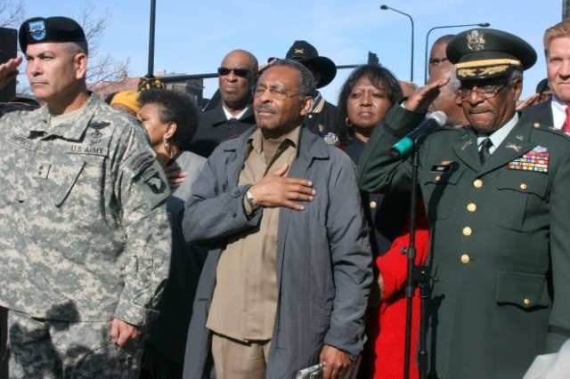 Maj. Gen Campbell, IL Senator Roland Burris, Retired Col. Eugene Scott, Salute at the World War I Black Soldier Memorial at Soldier Field.  The gathering was at the end of the Bronzeville, IL 2009 Veterans Day parade.