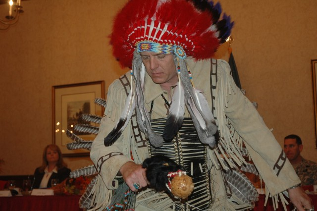 David Little, a Mohican also known as Cloud Walker, performs a traditional warrior dance in honor of the Soldiers at Fort Jackson.