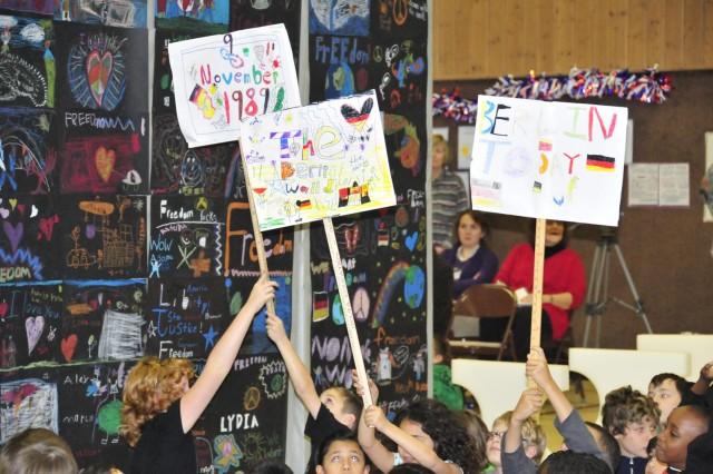 Grafenwoehr Elementary students stop to reflect, break down the Berlin wall