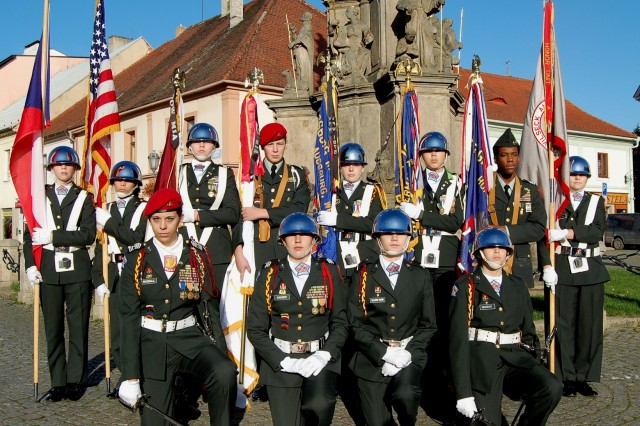 Falcon Cadets form up in the Rokycany main square after the blessing-of-the-flags ceremony at Rokycany's Virgin Mary of the Snow Church, Nov. 15.