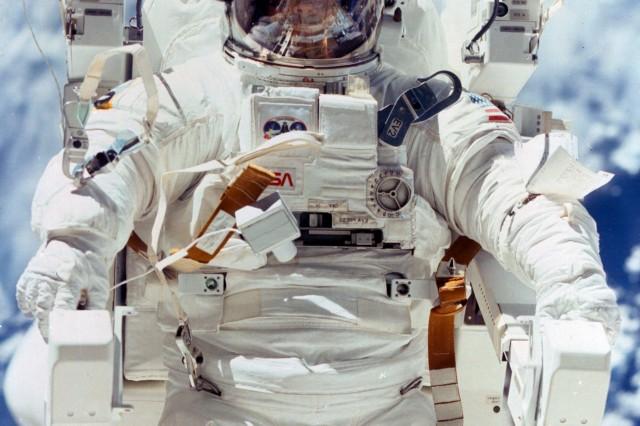 Stewart undertakes a space walk.