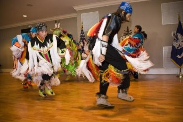 The Poarch Creek Powwow Club performs during Anniston Army Depot's National American Indian Heritage Month program.