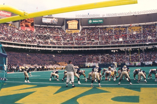 In the 1994 game, played on December 4th, this image shows Army on the goal line, the play resulting in a touchdown, in the eventual Army win over Navy, 22 to 20. (Gordon Sullivan Photograph Collection).