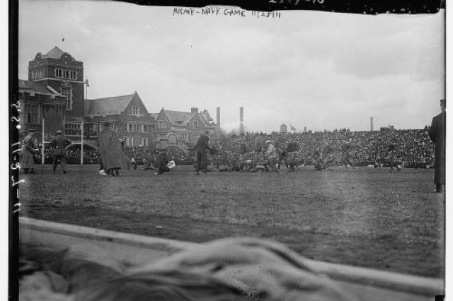 """Action from the 1911 Army-Navy game at Franklin Field in Philadelphia. The Midshipmen earned a hard-fought 3-0 victory."" Source is Library of Congress."