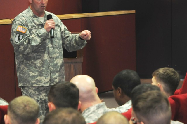Sgt. Maj. of the Army Kenneth Preston speaks to Soldiers and noncommissioned officers from 1st Battalion, 4th Infantry Regiment, at the U.S. Army Garrison Hohenfels Post Theater.