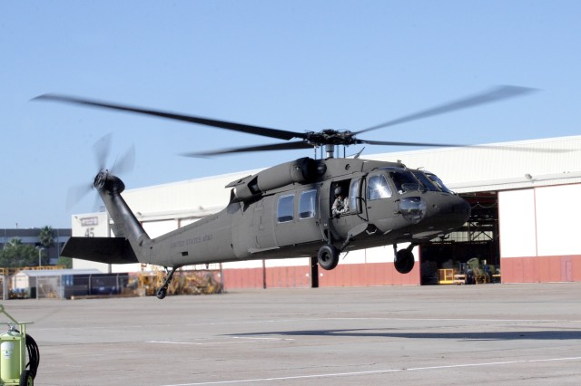 """Wheels up"" for the last UH-60 A-to-A recapitalized helicopter as it launches from Corpus Christi Army Depot Nov. 4. This is the 142 UH-60 A-to-A aircraft to be recapitalized by the depot since 2002."