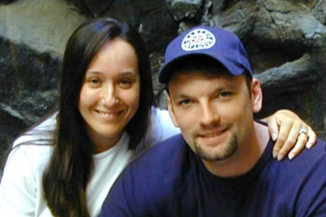 Kimberly Hazelgrove and late husband, Chief Warrant Officer Brian Hazelgrove. Kimberly is a member of the Gold Star Wives as a result of her husband's death in Mosul, Iraq, in January of 2004.