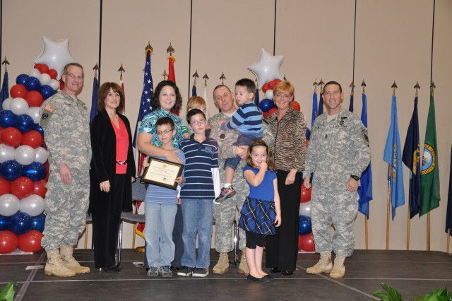 Each nominated family was honored by Brig. Gen. Bradley May and his wife, Jan, and Command Sgt. Maj. Brian Stall and his wife, Cheryl. Nominee: Staff Sgt. Shawn and Tiffany Moss, William (9), Wyatt (7), Grace (5), Jackson (3), Luke (2)