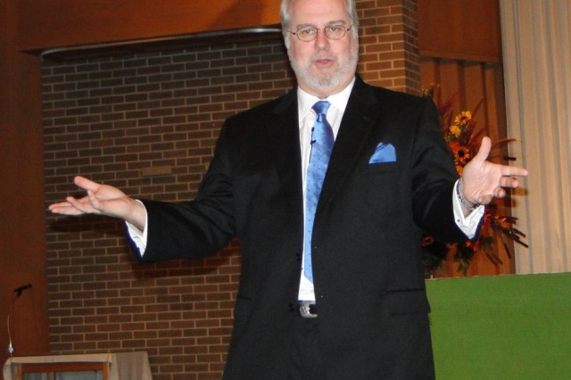 """Don Piper, the bestselling author of """"90 Minutes In Heaven - A True Story of Death and Life,"""" speaks to an audience of more than 100 at Bicentennial Chapel on Nov. 17."""