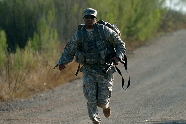 This Spur Ride candidate ran a good portion of the six-mile road march Nov. 23, during the 2nd Battalion, 12th Cavalry Regiment's Spur Ride.