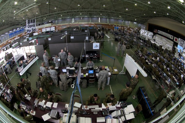 CAMP HIGASHI-CHITOSE, Japan (Dec. 3, 2009)- An aerial view of the combined operations/intelligence center, manned by the Northern Army of the Japan Ground Self-Defense Force, the Contingency Command Post of United States Army, Pacific and I Corps Forward during the early stages of Exercise Yama Sakura 57.  Since its inception in 1982, Yama Sakura has focused on the development and refinement of the JGSDF and U.S. Army, Japan efforts in the areas of bilateral planning, coordination and interoperability through training.  (photo by U.S. Army Sgt. Gerardo DeAvila, 124th Mobile Public Affairs Detachment)